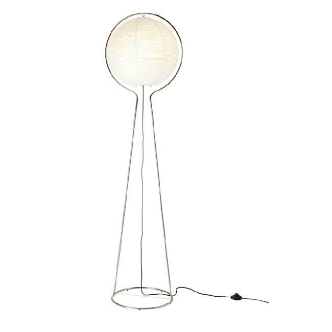 Modern Simple Orb Paper Shade Floor Lamp in Chrome Finish 10698