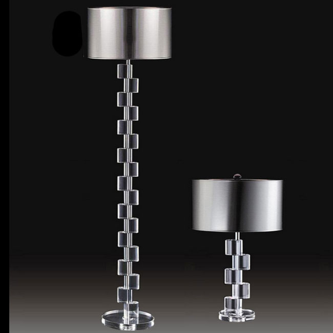 Modern Crystal and TC Fabric Shade Table and Floor Lamp 10834
