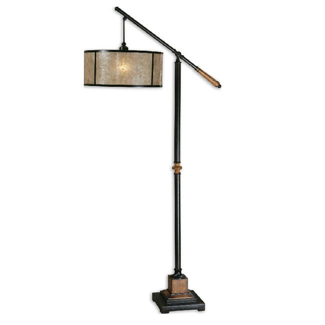 Antique Marble Shade and Wood Canopy Floor Lamp 11077