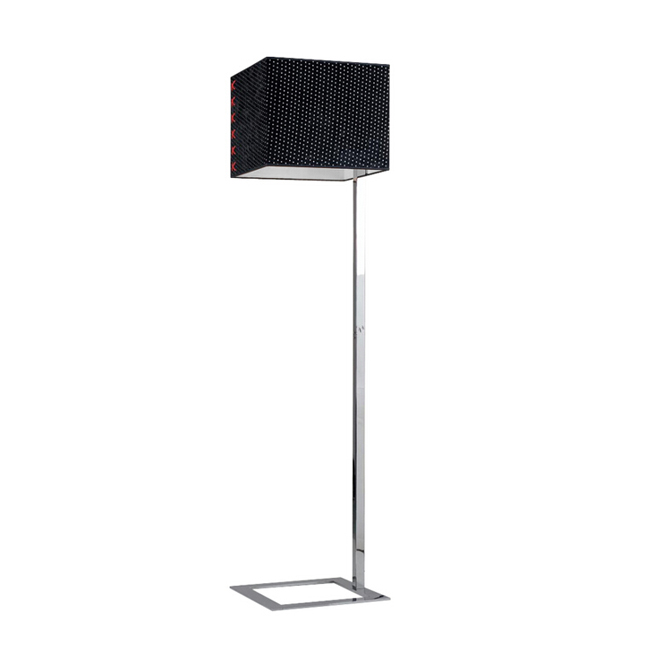 Modern Square Fabric Shade Floor Lamp in Chrome Finish 11183