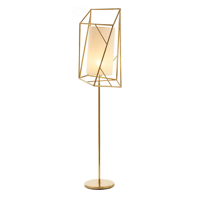 Modern Brass and Flax Shade Floor Lamp 13023
