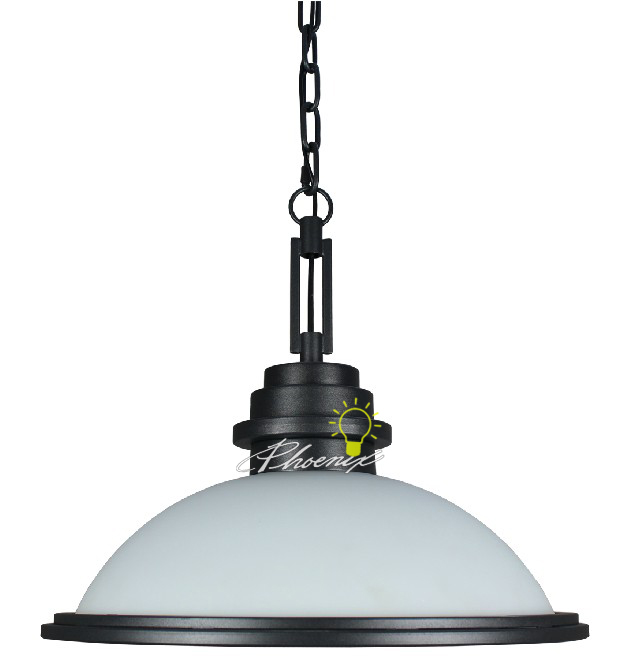 Antique Iron and Matte Glass Single Pendant Lighting 7456