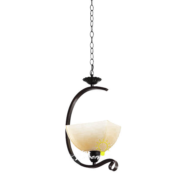 Antique Iron Art and Marble Glass Shade Pendant Lighting 7555