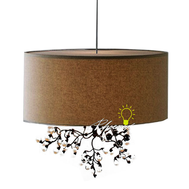 Milan Linen and Crystal Pendant Lighting in Chrome Finish 8437