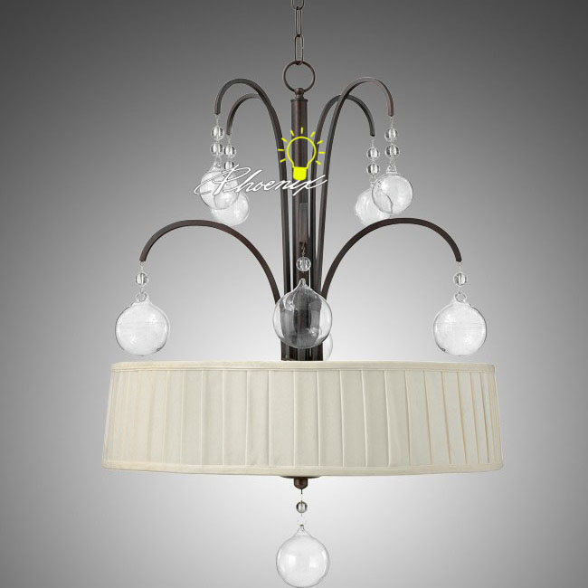 Antique Crystal and Fabric Shades Pendant Lighting 8934