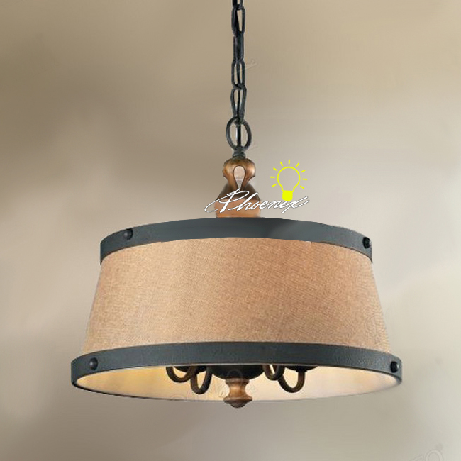 Antique Country Iron and Fabric Pendant Lighting 9063