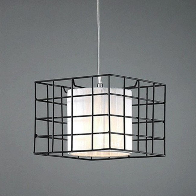 Modern Square Fabric and Iron Art Pendant Lighting 9452