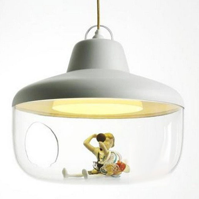 Modern Clear glass Prints Inside Pendant Lighting 9484