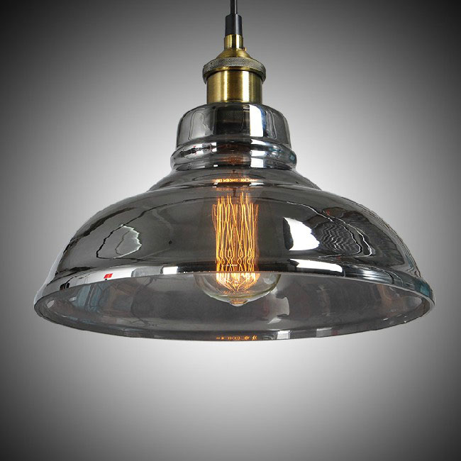 North Copper Cap and Sliver Grey Glass Pendant Lighting 9597