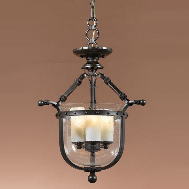 Antique Bubble Glass and 3 Marble Shades Pendant Lighting 10145
