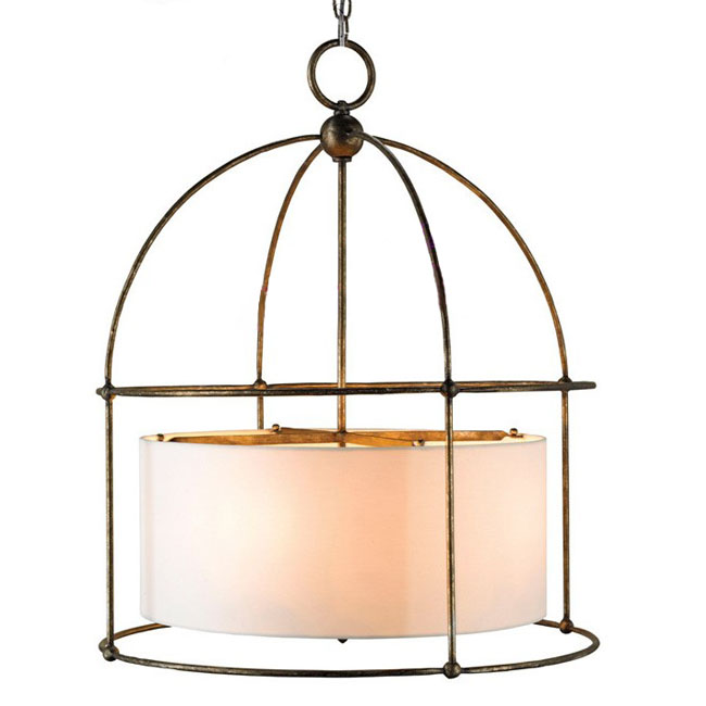 Antique Country Copper and Flax Shade Pendant Lighting 10214