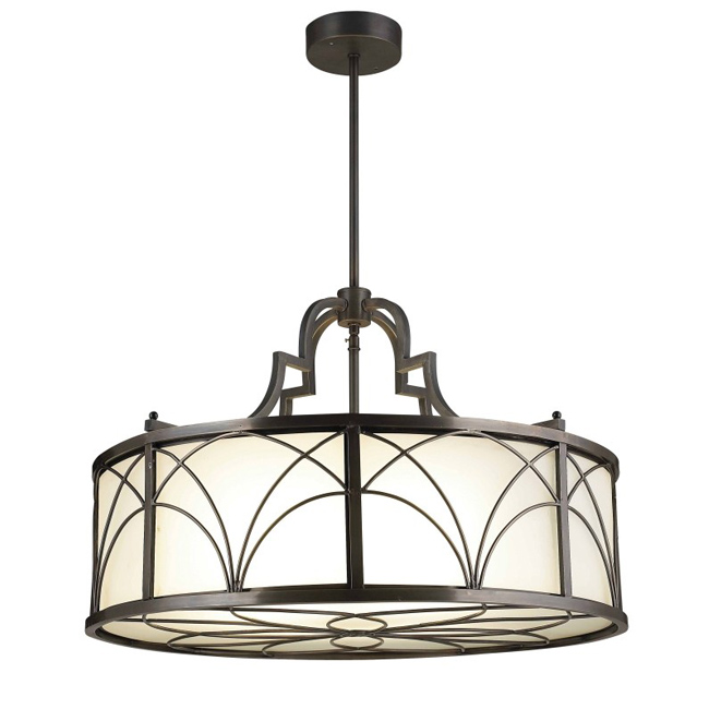 Traditional Copper and Glass Shade Pendant Lighting 102631