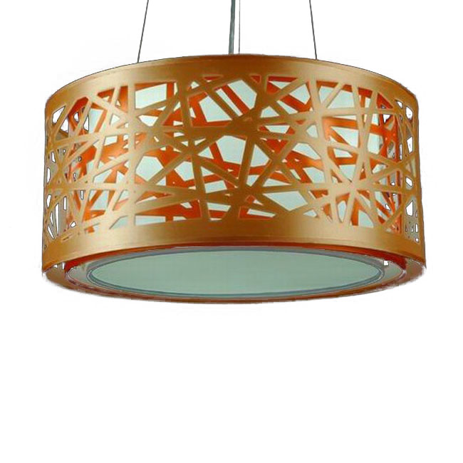 Modern Carved metal and Fabric Shade Pendant Lighting 10479