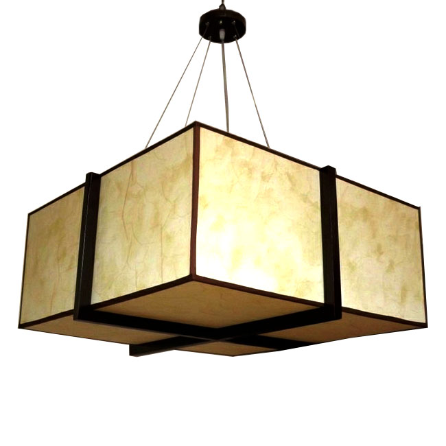 Modern Oblong Parchment Shade and Wood Frame Pendant Lighting 10