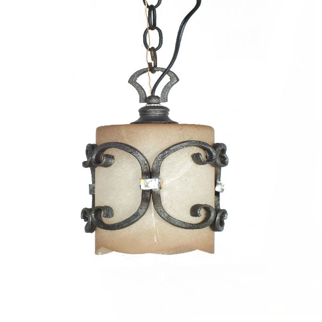 Antique Iron and Matte porcelain Shade Pendant Lighting 10524