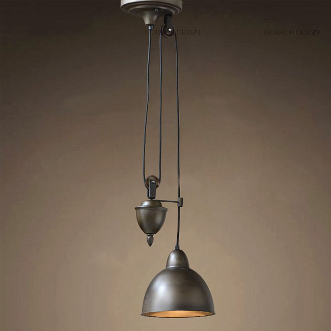 PHX North Adjustable Hanging Cord and Iron Pendant Lighting in B