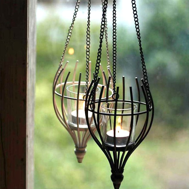Antique Little Iron and Glass Candle Pendant Lighting 10580