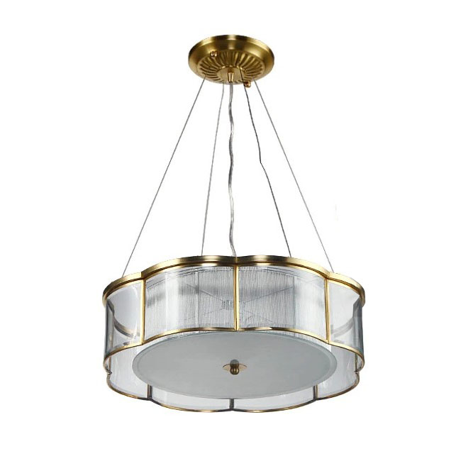 Modern Copper and Gauze Shade Pendant Lighting 10585