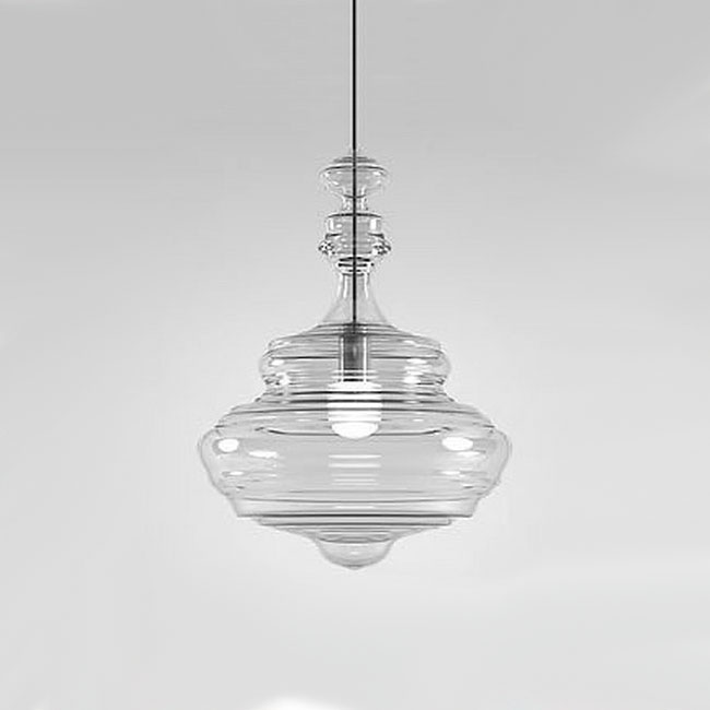 Modern North Blown Glass Pendant Lighting in Chrome Finish 10610