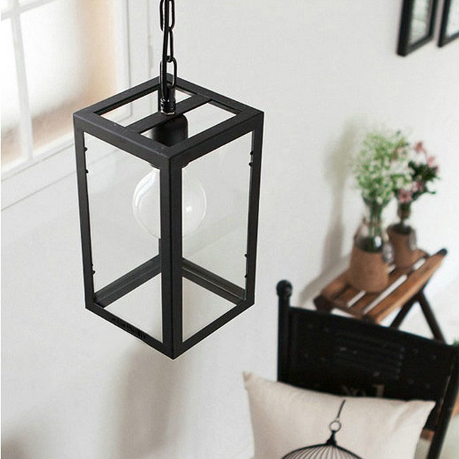 North Square Iron Frame and Glass Shade Pendant Lighting 10620