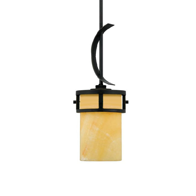 Country Iron and Marble Shade Pendant Lighting 10630-1