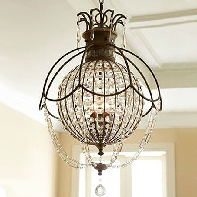 Antique Iron and Orb Crystal Pendant Lighting in Baking Finish 1