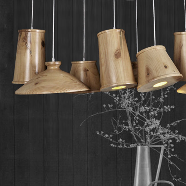 Modern 9 Original Wood Art Shades Pendant Lighting  10777