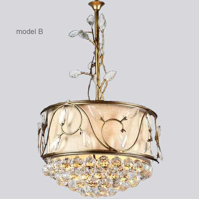 Country Iron and Crystal with Flax Shade Pendant Lighting 10785