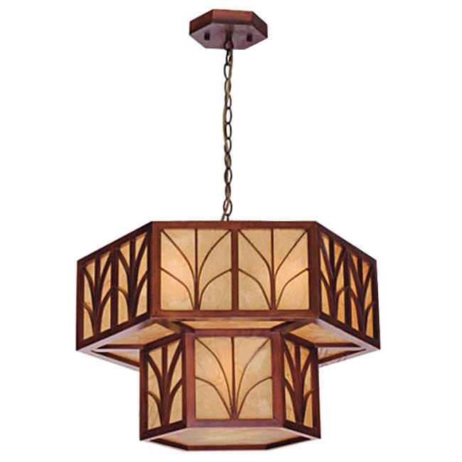 Antique Wood and Parchment Shade Pendant Lighting 10814