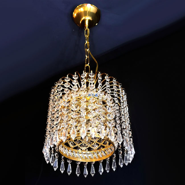 Modern Metal and Crystal Pendant Lighting in Golden Finish 10846