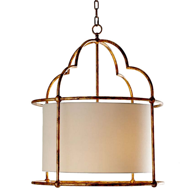 Antique Country Flax Shade Pendant Lighting in Rusted Finish 732