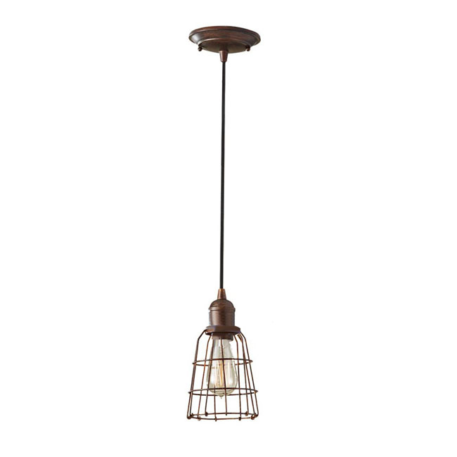 Antique Iron Line Art and Copper Cap Pendant Lighting 7350