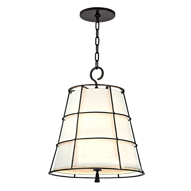 Mdoern Country Iron and Flax Shade Pendant Lighting in Baking F