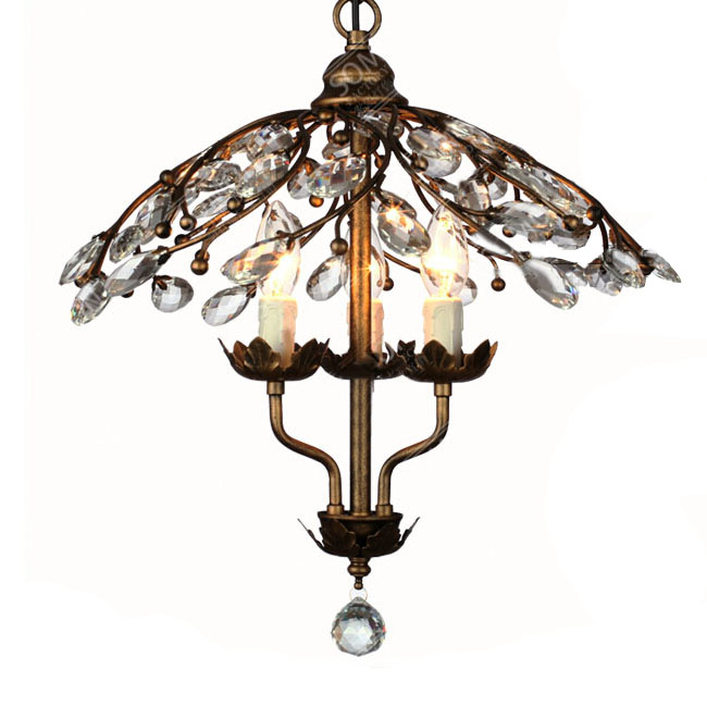 North Iron and Crystal 3 Caps Pendant Lighting in Painted Finish