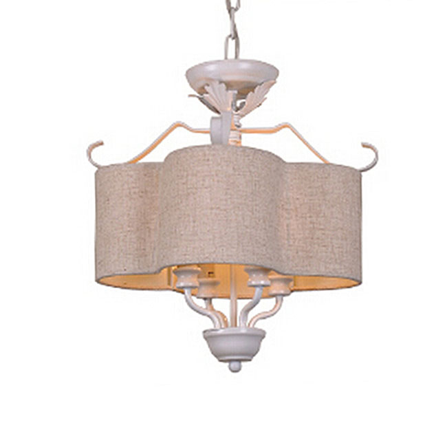 Country Iron and Flax Shade 4 Lights Pendant Lighting 10931