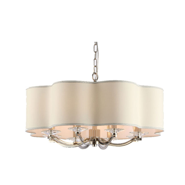 Modern Flax Art Shade and Metal Chandelier in Chrome Finish 1094