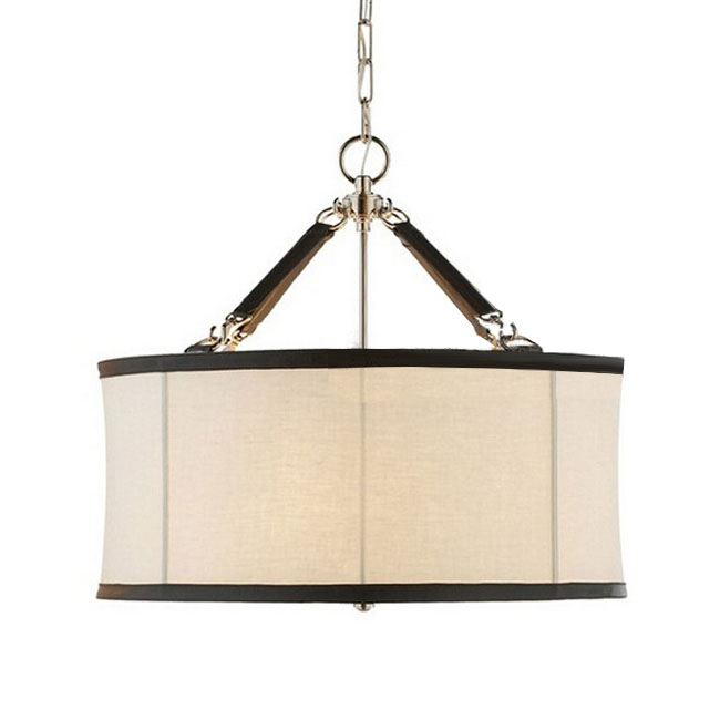North Iron and Flax Fabric Shade Pedant Lighting in Baking Finis