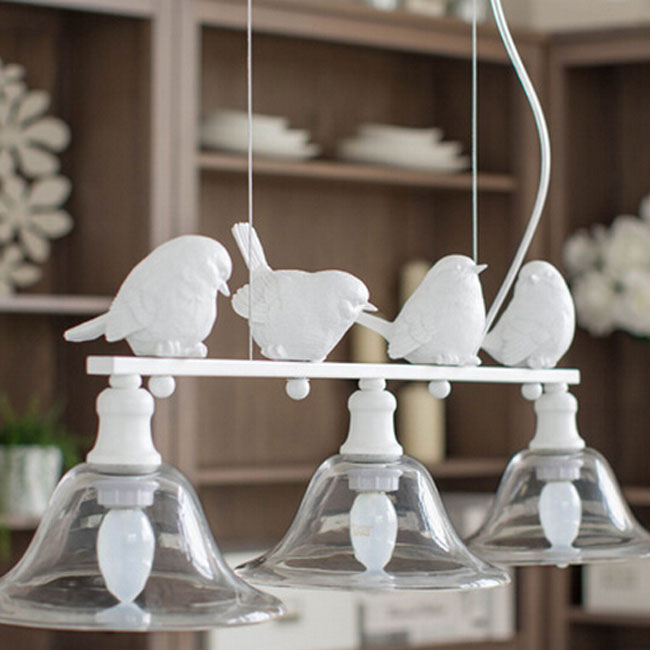North 3 Bell Glass Shades Little Birds Pendant Lighting 10957