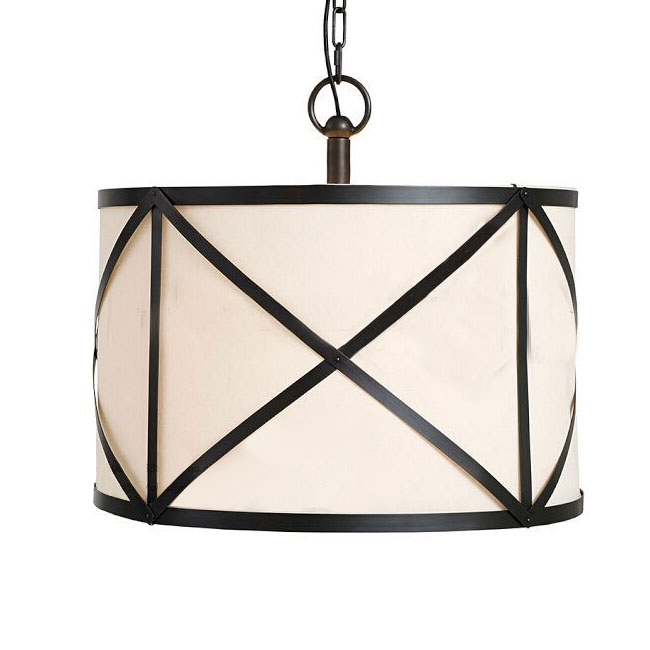 Country Iron and Fabric Shade Pendant Lighting in Baking finish