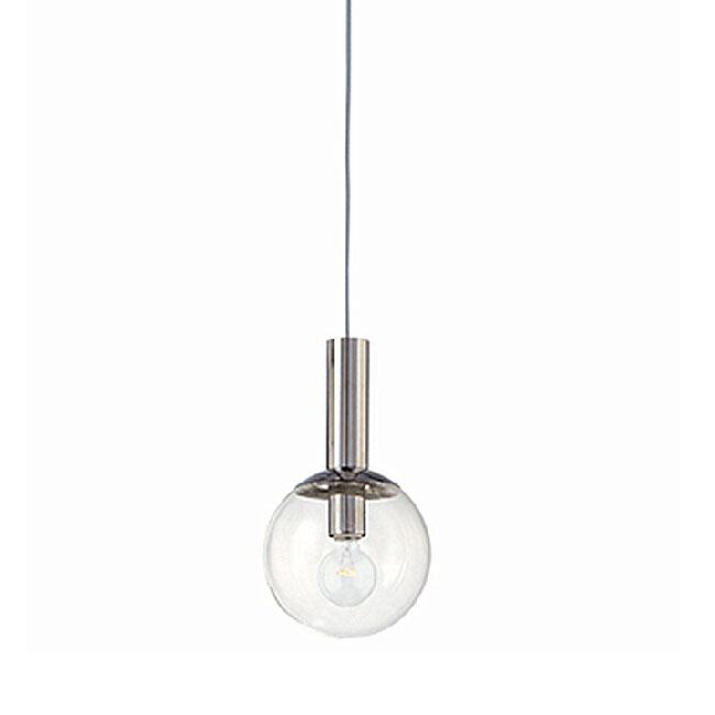 Modern Clear Glass Orb Pendant Lighting in Chrome Finish 11014