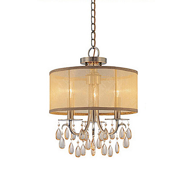 Antique Crystal and Gauze Shade Pendant Lighting in Copper Finis