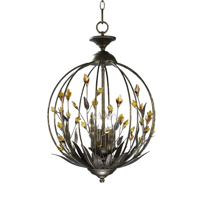 Country Iron and Cognac Crystal Orb Pendant Lighting in Baking F