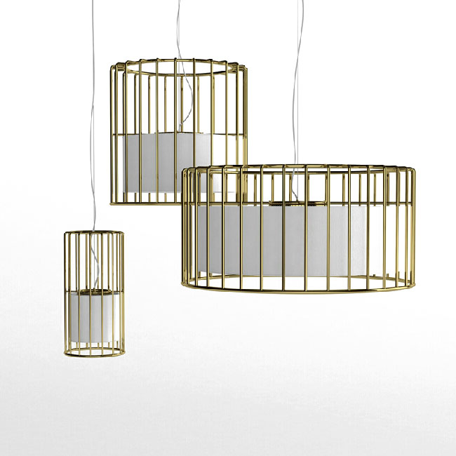Modern Iron Cage and Flax Shade Inside Pendant Lighting 11233