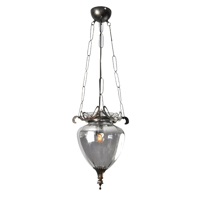 Antique Grey Blown Glass Pendant Lighting in Baking Finish 11250
