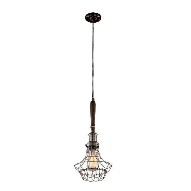 Antique Ironline Shade and Wood Cap Pendant Lighting 11265