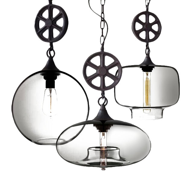 LOFT Heavy Metal and clear Glass Shade Pendant Lighting 11286