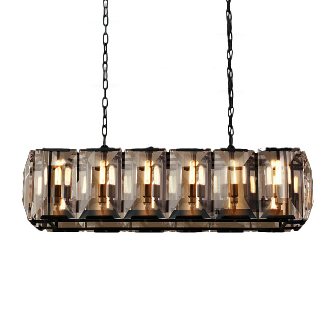 Country Crystal Oblong Pendant Lighting 11324