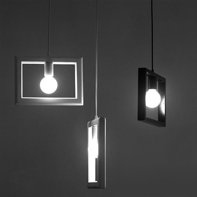 Modern Wood Photo Frame Pendant Lighting 11393