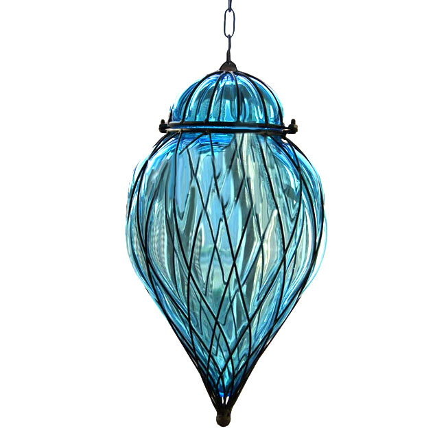 Antique Blown Glass and Iron Art Pendant Lighting 11397