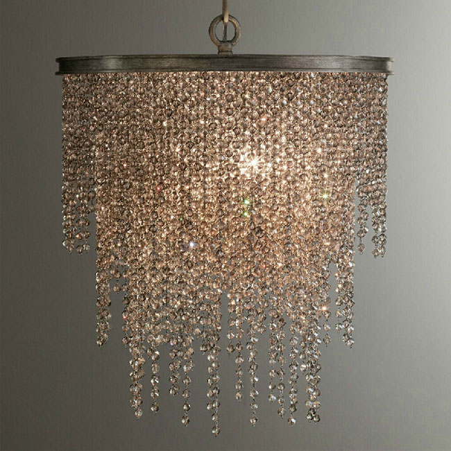 Antique Iron and Crystal Dropping Pendant Lighting 11494